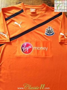 Official Puma Newcastle United away football shirt from the season. Hatem Ben Arfa, Newcastle United Football, Queens Park Rangers, Puma Shirts, Orange Shirt, Europa League, European Football, Football Shirts, Colorful Shirts