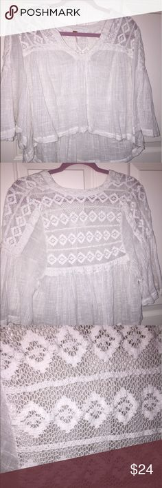 free people white crochet loose top See-through and super cute with a bralette! Good condition! Some fuzz on it just from being in my closet for so long with other clothes but I will definitely wash it before I send it out:) Free People Tops Blouses