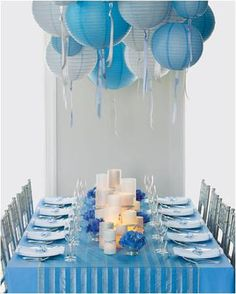 White and blue gives a very light vibe and will remind you of a sunny day with the clouds in the sky. These paper lanterns are a cost effective way of making an eye catching centre piece