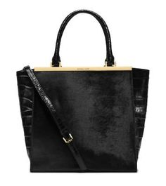 Women's Cross-Body Handbags - Michael Kors Lana Embossedleather Tote Black -- Read more reviews of the product by visiting the link on the image.