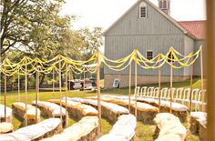 Barn Wedding Ceremony Ideas - blanket covered hay bale guest seating for outdoor ceremony Wedding Ceremony Ideas, Wedding Reception Seating, Ceremony Decorations, Wedding Chairs, Streamer Decorations, Wedding Vendors, Wedding Favors, Garden Party Wedding, Farm Wedding