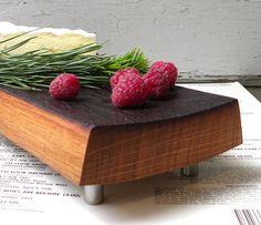 Footed French oak reclaimed wine barrel cutting board