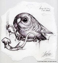Greg 'Craola' Simkins Even his sketches are fantastic Bird Drawings, Animal Drawings, Tattoo Drawings, Rabbit Drawing, Pop Surrealism, Whimsical Art, Animal Paintings, Fantasy Characters, Fantasy Art