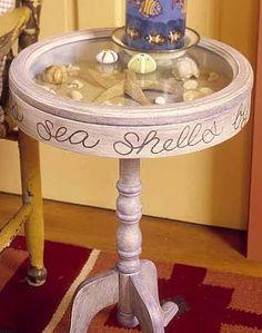Curio Tables with Coastal Displays