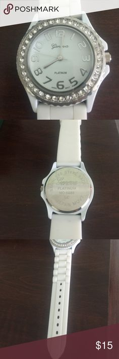 Watch NEVER WORN!!! White watch, is great for any size wrist. Geneva Platinum Accessories Watches