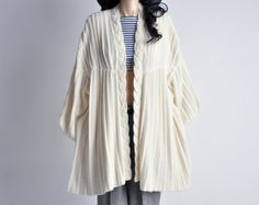 vintage pleated cream sweater dress / coat / m by persephonevintage, $220.00
