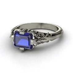 YESSSS! Emerald-Cut Sapphire  Platinum Ring from Gemvara