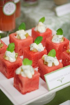Watermelon Salad  Jazz up a piece of watermelon by turning it into a finger food salad. Cut the watermelon into square cubes, with a small round hole carved on top. Fill the hole with a combination of diced grapes and apples and a small amount of yogurt dressing.