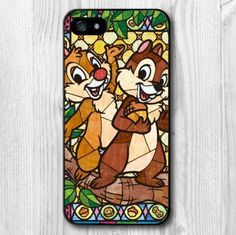 Disney Chip and Dale Stain Glass Design Protective Phone Case Cover for iPhone 6 5s 5c 5 4s 4
