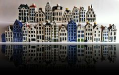 24 Blue Delft Miniature Souvenier Canal House Buildings Amsterdam KLM More | eBay