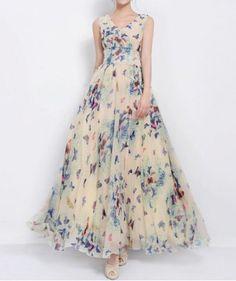 Chic Style V-Neck Full Butterfly Print Lace Up Sleeveless Chiffon Women's Dress