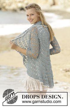 Isla Bonita / DROPS 177-18 - Casaco em redondo em croché em DROPS Baby Merino. Do S ao XXXL.