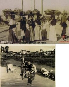 Santa María de Oza 1912.En esta época Oza era un ayuntamiento independiente,tenían fama sus fresas,y había una fiesta dedicada a ellas.