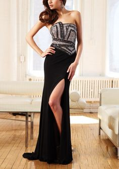 Find An amazing Collection of Pretty Sheath Chiffon Strapless Long Girls Formal Dresses At Online Shop
