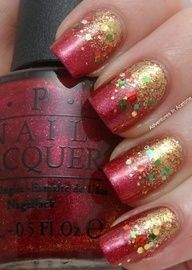 Adventures In Acetone: Too Early For Christmas Nails? - Holiday nails : Adventures In Acetone: Too Early For Christmas Nails? Cute Christmas Nails, Xmas Nails, Christmas Nail Designs, Glitter Nails, Gold Glitter, Christmas Glitter, Valentine Nails, Gradient Nails, Stiletto Nails