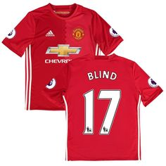Daley Blind Manchester United adidas Youth 2016/17 Replica Home Jersey - Red