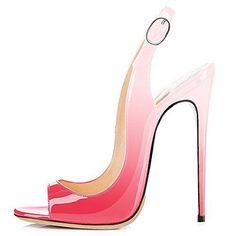 Modemoven Women's Peach Pale Pink Patent Leather Pumps,Peep Toe Heels,Slingback Sandals,Evening Shoes,Cute Stilettos - 8.5 M US