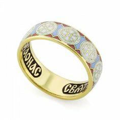 Православное кольцо с эмалью молитва ко свт. Николаю Чудотворцу из золота КЗЭ0801