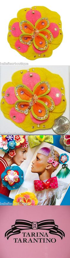 Hair and Head Jewelry 110620: Tarina Tarantino Fire Cracker Felt Hair Clip Yellow And Pink *Made In California* -> BUY IT NOW ONLY: $44.99 on eBay!
