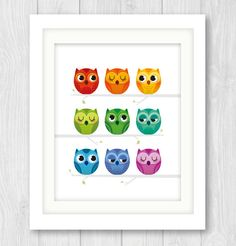 Rainbow Owls nursery print nursery decor baby by IreneGoughPrints