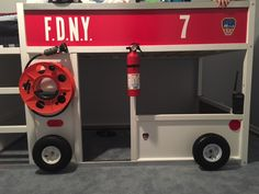 Corrine put together a FDNY fire truck bunk bed from the IKEA KURA bed Kura Ikea, Ikea Bunk Bed, Safe Bunk Beds, Cool Bunk Beds, Bunk Beds With Stairs, Kids Bunk Beds, Beds For Boys, Kura Hack, Fireman Room