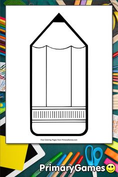FREE Pencil Coloring Page printable. PRINT and COLOR Back To School PDF Coloring Books from PrimaryGames. Our online collection of EASY and ADULT Coloring Pages feature the BEST pictures for you to color. School Coloring Pages, Coloring Pages To Print, Adult Coloring Pages, Coloring Books, Colorful Pictures, Cool Pictures, Back To School Images, Cool Games Online, Reading Games