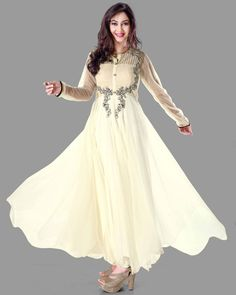 USD 70.73 Cream Net Ankle Length Anarkali Suit 54509