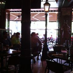 Mad dogs English pub looking out on the riverwalk. I love me some pubs.