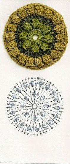 Crochet Granny Square Pattern Diagram Yarns 22 Ideas For 2019 Crochet Coaster Pattern, Crochet Blocks, Granny Square Crochet Pattern, Crochet Diagram, Crochet Chart, Crochet Squares, Crochet Granny, Granny Squares, Crochet Circles