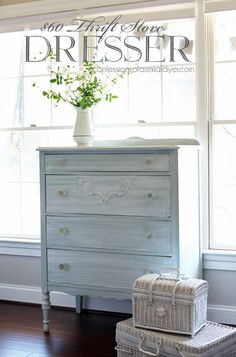 Blue dresser with whitewash finish White Washed Furniture, Grey Bedroom Furniture, Blue Furniture, Painted Furniture, Cottage Furniture, Refinished Furniture, Blue Bedroom, White Wash Dresser, Blue Dresser
