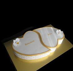 Gold & White Heart Engagement Cake   Flickr - Photo Sharing!
