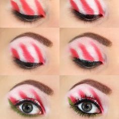 Candy Cane Christmas Look . - Candy Cane Christmas Look More - Christmas Look, Grinch Christmas Party, Christmas Makeup Look, Holiday Makeup Looks, Christmas Costumes, Christmas Candy, Green Christmas, Xmas, Whoville Costumes