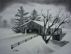 Supreme Portrait Drawing with Charcoal Ideas. Prodigious Portrait Drawing with Charcoal Ideas. Landscape Pencil Drawings, Landscape Sketch, Charcoal Sketch, Charcoal Art, Bridge Drawing, Bridge Painting, Winter Szenen, Winter Trees, Graphite Drawings