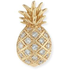 Sydney Evan Pav& Diamond Pineapple Single Stud Earring (7,880 MXN) ❤ liked on Polyvore featuring jewelry, earrings, pineapple, yellow gold, pineapple earrings, 14k jewelry, 14 karat gold diamond earrings, stud earrings and post earrings