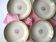 Vintage Paden City Yellow Pink Floral Soup Bowls by thechinagirl