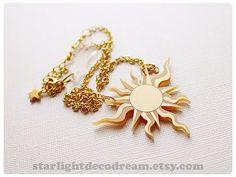 Cardcaptor Sakura Book of the Clow Keroberos SUN Lock Gold Acrylic Necklace for Mahou Kei, Magical Girl Fashion