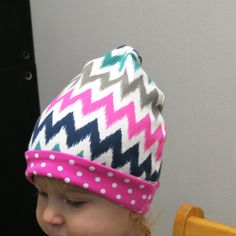 Slouchy Beanie,Slouch Hat,Baby Hat,Toddler Cotton Hat,Shevron beanie,Shevron baby Hat,  baby hat,Toddler shevron Hat, Pink dots