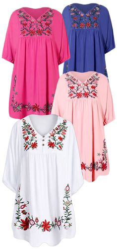 Plus Size Embroidered Bib A Line Dress