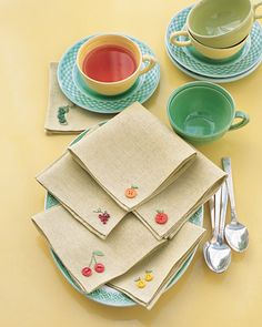 Making Button Tea Napkins