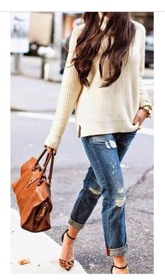 Comfy sweater, ripped jeans, leopard flats