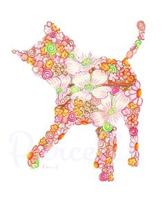 Pink Playful Kitty with Pink Dogwood Flowers by UnderTheNumNumTree