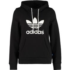 adidas Originals TREFOIL Hoodie ($68) ❤ liked on Polyvore featuring tops, hoodies, sweaters, sweatshirts, jackets, black, collar top, black hoodie, hooded sweatshirt and black hoodies