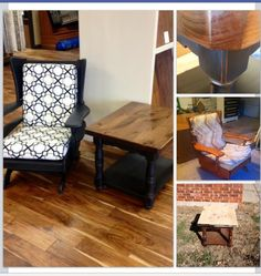 Before and after rocker and side table. Chalk painted, distressed and cushions recovered  #refurbishedrockingchair #potterybarnblackknockoff