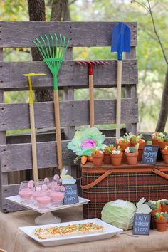 Food Table from a Peter Rabbit Birthday Party via Kara's Party Ideas | KarasPartyIdeas.com | The Place for All Things Party! (18)