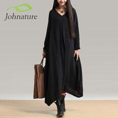 New Women Black Color Maxi Dress Robe Long Sleeve V Neck Loose Plus Size Irregular Long Dress Gown