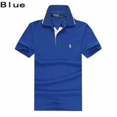 Ralph Lauren Men Contrast Tipping Collar Pony Polo Blue