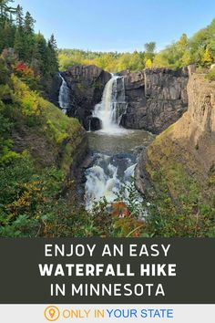 Enjoy a fun, easy, and family-friendly waterfall hike in Minnesota. This beautiful trail makes for a scenic day trip in nature. Beautiful Park, Beautiful Places, Grand Portage State Park, High Falls, Waterfall Hikes, Hidden Beach, Thing 1, Trend Fashion, Camping And Hiking