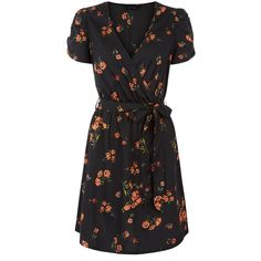 Black Floral Print Wrap Front Dress ($2.75) ❤ liked on Polyvore featuring dresses, floral print dress, flower pattern dress, botanical dress, floral day dress and wrap front dress