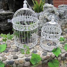 $4 de descuento de La Moda de hierro forjado jaula de hierro blanco pequeña decoración colgante jaula de pájaro jaula de pájaros