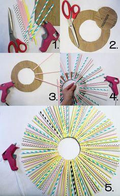 DIY Paper Straw Wreath: instructions
